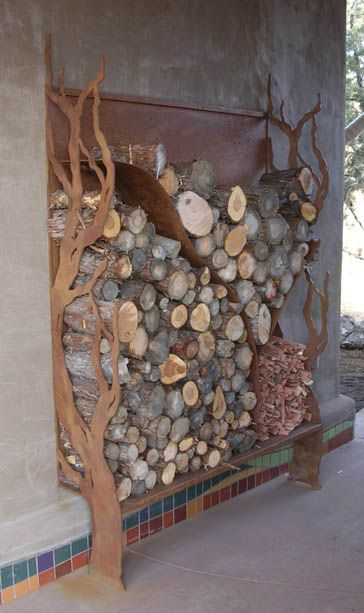 Built-in wood storage near outside fire pit: