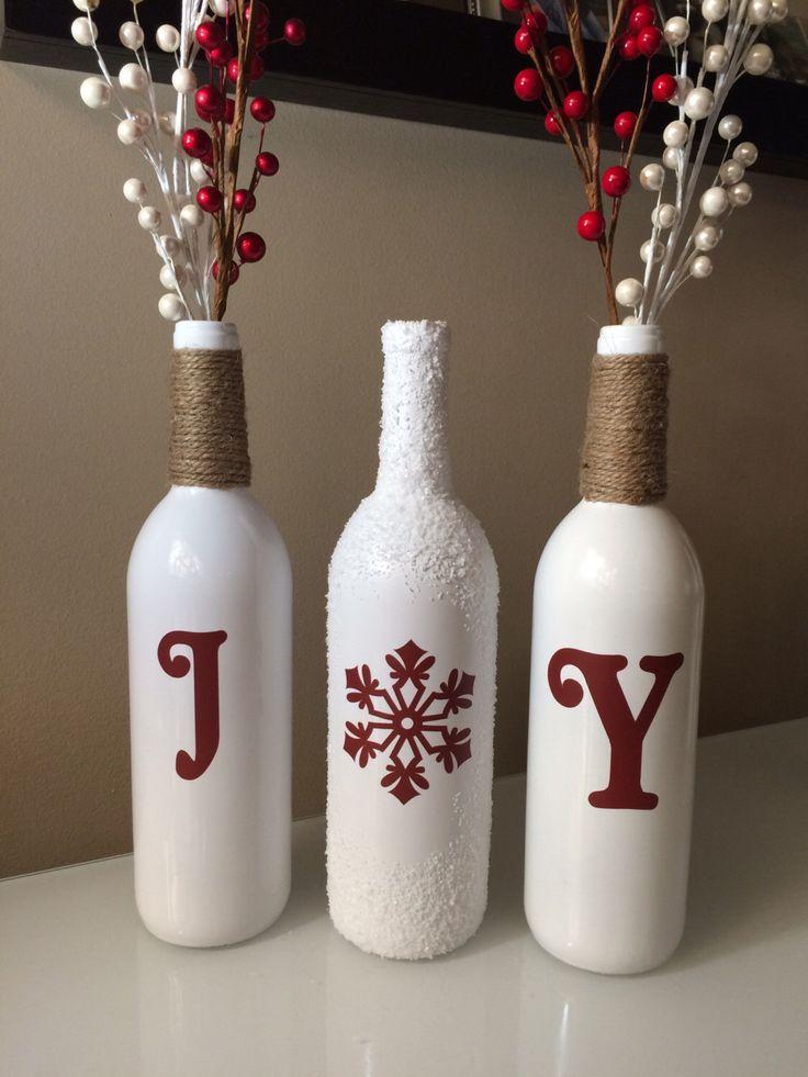 Joy Wine Bottles, Christmas Joy Wine Bottles, Christmas Decorations, Joy, Christmas Wine Bottles,Burlap wine bottles, Snow by BriEllaCreations on Etsy https://www.etsy.com/listing/212046734/joy-wine-bottles-christmas-joy-wine