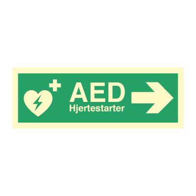 AED Hjertestarter til Høyre - Kjøp Nødskilt online