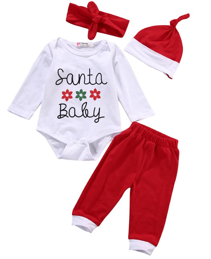 >> Click to Buy << 4PCS Cute Newborn Baby Boys Girls Santa Baby Christmas Clothes long sleeve letter Romper red Pants Hat Outfit #Affiliate
