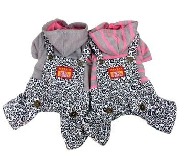 Новый 2015 товары для животных одежда для собак забавный комбинезон под леопарда комбинезон теплый спортивный костюм собаки одежда одежда для собак Pet куртка