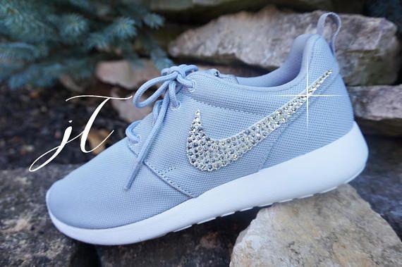 Gris Nike Roshe Run con cristales de Swarovski Xirius