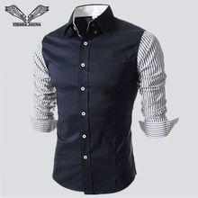 Camisa de hombre 2016 primavera nueva Arrvials moda camisas de hombre a rayas Casual Slim Fit algodón de manga larga Camisa Masculina N87(China (Mainland))