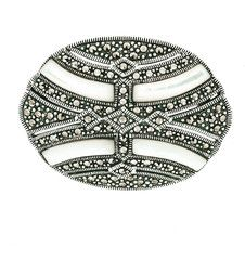 Mother of Pearl Marcasite Brooch/Pendant - Chicago Marcasite Jewellery