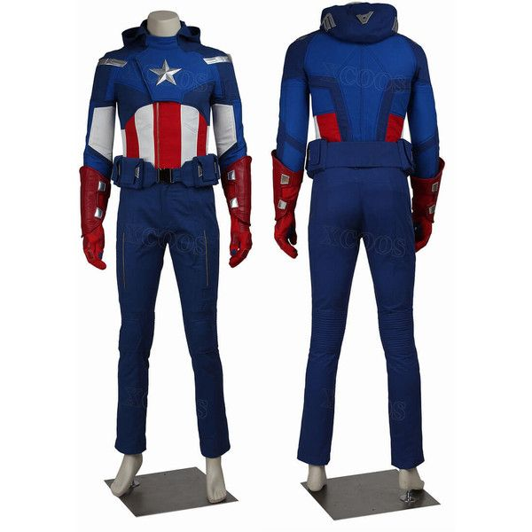 Avengers Assemble Captain America outfit of Steve Rogers Costumes ❤ liked on Polyvore featuring costumes, blue costumes, cosplay halloween costumes, captain america avengers costume, superhero halloween costumes and blue halloween costumes