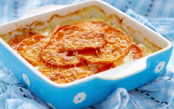 Cartofii dulci în combinație cu brânzeturile alese... rezultatul e unul dumnezeiesc de gustos, demn de restaurantele de lux.