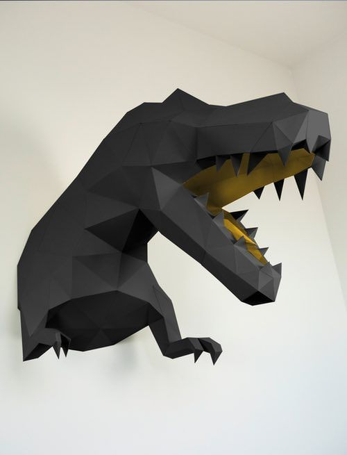 Get the king of dinosaurs on your wall with the black-gold T-Rex! With its imposing 78 x 55 x 96 cm, the wall trophy is almost as big as the original dimensions of the dinosaur giants.