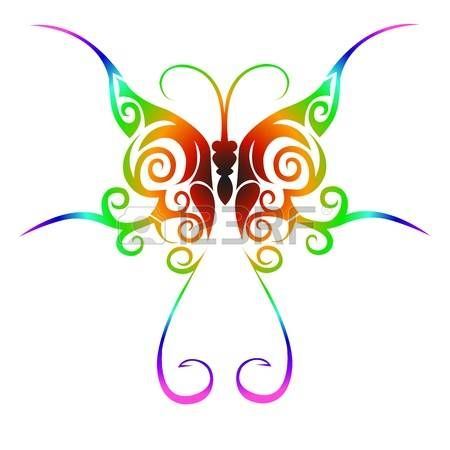 Colorful tribal butterfly tattoo Illustration