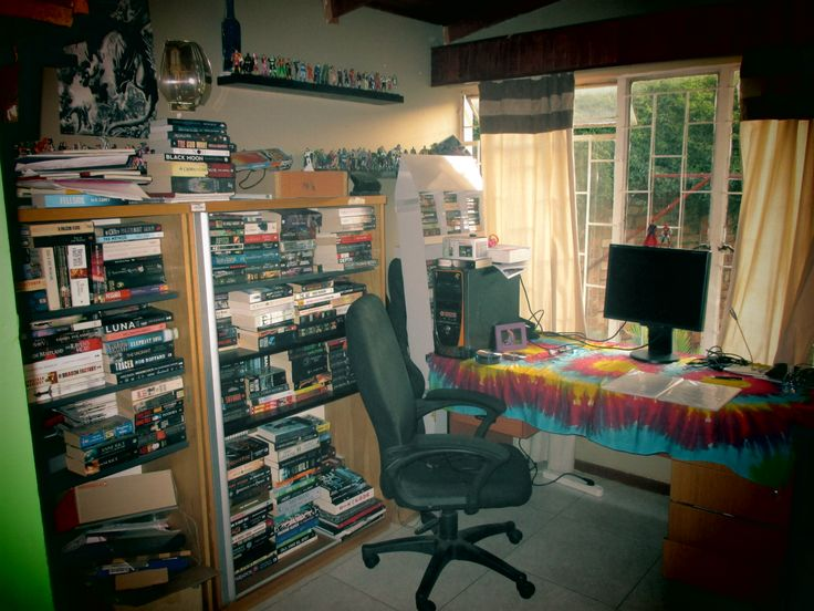 Dave de Burgh's bat cave. I mean author den. The burglar bars give you some indication what it's like living in South Africa.