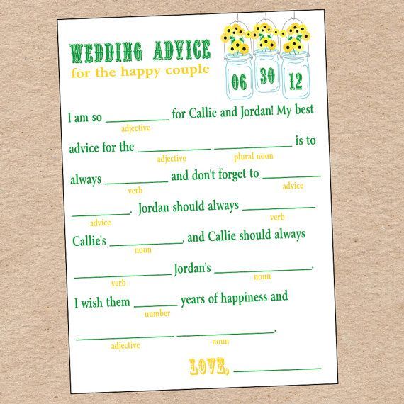 Wedding Advice Mad Libs Game for Wedding Reception or Guest Book- DIY Printable. $15.00, via Etsy.