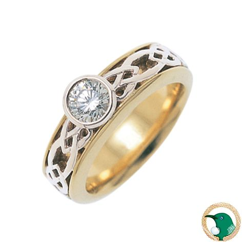 Our ladies Hearts diamond Celtic ring in 18ct yellow and white gold, with a rub set .30ct round brilliant cut diamond.