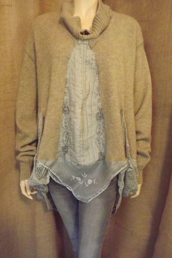 Lagenlook Upcycled Sweater Jacket Vintage by bluemermaiddesigns
