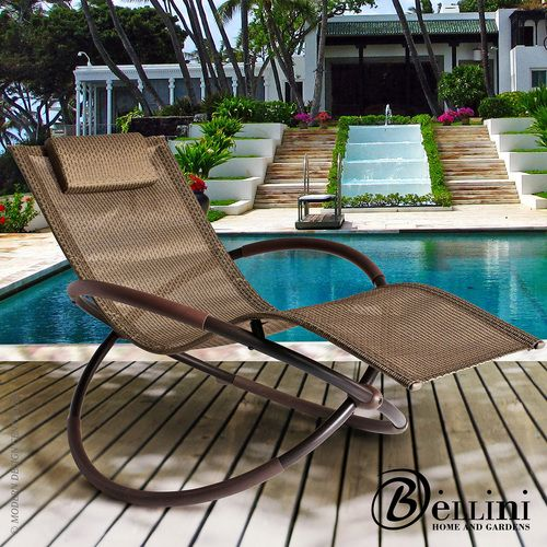 Defy gravity with this futuristic sleek European inspired #rockinglounger. Bellini Bali Wave Rocking Chaise Lounge is designed with the body's contour in mind and supports your body from head to toes. #rockingchairs Available at allmodernoutlet.com