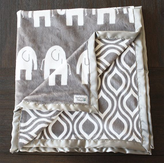 Minky Blanket Elephant Blanket Animal blanket by HeartstringThings