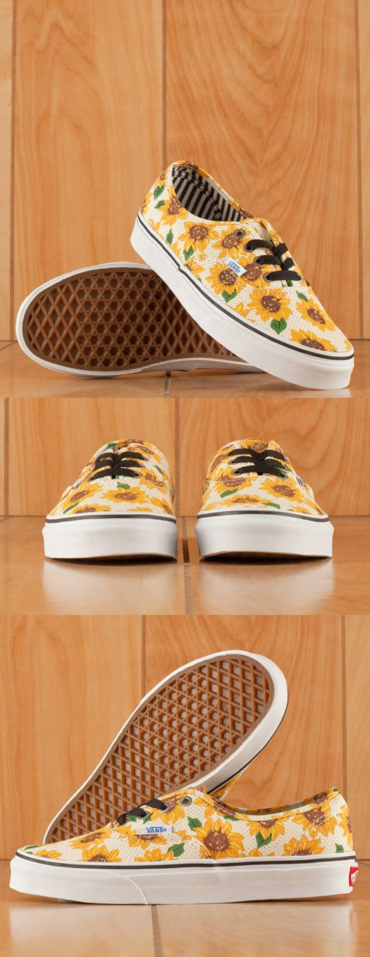 "The Vans Authentic Sunflower True White Womens Shoes, Vans Original and now iconic style, has a simple low top, lace-up canvas upper and an all-over sunflower print, and metal eyelets. Pair these sunny shoes with your high-waisted shorts for this summer's music festivals! Did someone say ""Coachella?"""