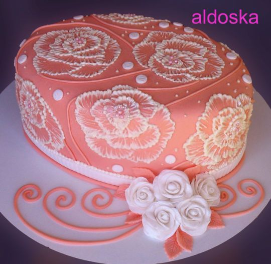 Orange oval with roses