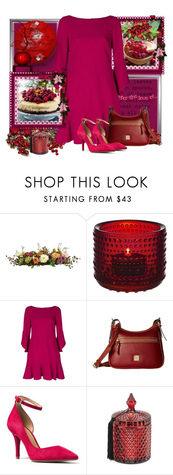 """Cranberry"" by fashionrushs ❤ liked on Polyvore featuring Nearly Natural, iittala, Michael Michaud, Talbot Runhof, Dooney & Bourke, MICHAEL Michael Kors and D.L. & Co."