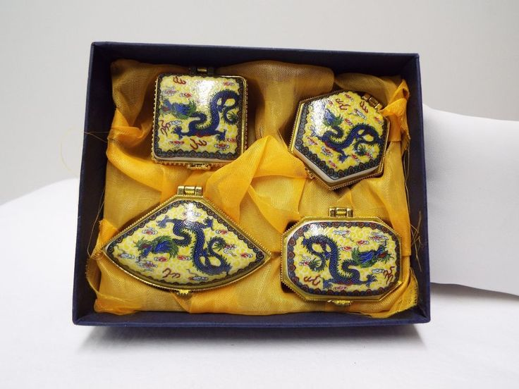 Traditional Chinese Hand Painted Ceramic Boxes Set of 4 Dragon Design Gift Box