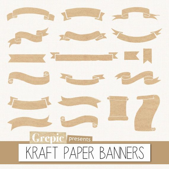"Kraft paper banners clipart: Digital clipart ""KRAFT PAPER BANNERS"" pack with kraft paper banners, old paper ribbons, beige grunge labels"