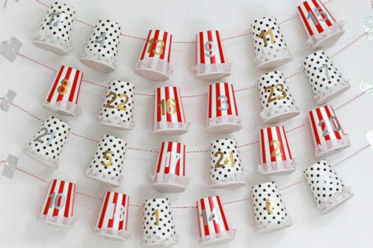An Easy DIY Advent Calendar Tutorial using Paper Cups. Easy Simple and Quick DIY Advent calendar. Make your Own Advent Calendar