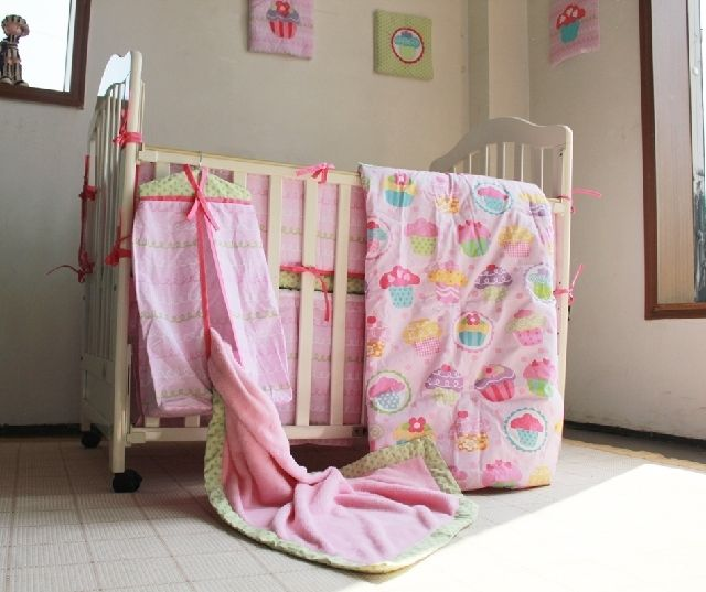 114.99$  Watch here - http://alinip.worldwells.pw/go.php?t=32662830389 - 10 Pc Crib Infant Room Kids Baby Bedroom Set Nursery Bedding  Pink Cake Cot bedding set for newborn baby girls 114.99$