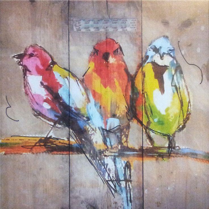 st0476f schilderij vogels steigerhout diverse afmetingen - kopen bij pleinaanbiedingen.nl