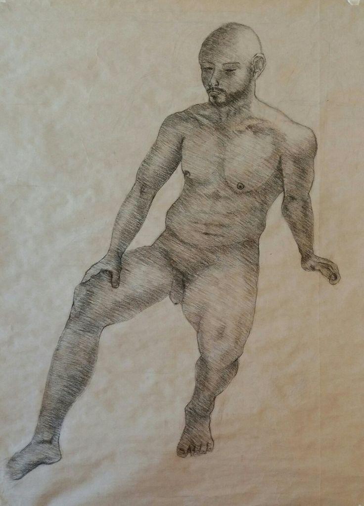 Dibujo Anatómico con modelo. Técnica de carboncillo sobre papel.