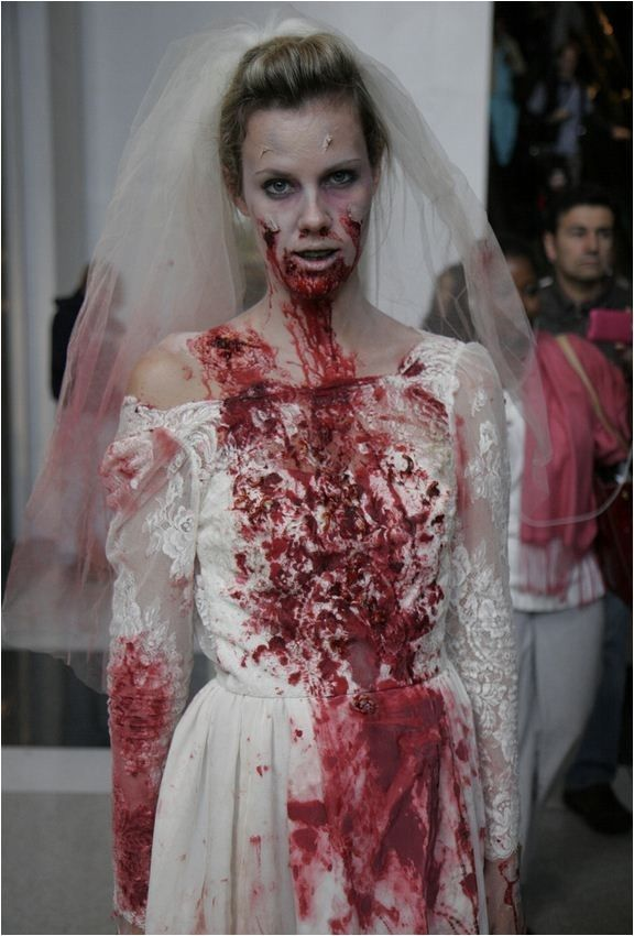 A catwalk zombie bride, this is the perfect image for my zombie character as it gives me ideas of a theme and style for my zombie.