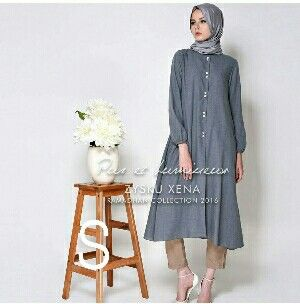 @77000 anjeli tunik busui bahan katun denim uk all size fit L besar.2016