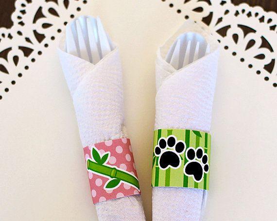 Panda Napkin wrapper, Napkin Holder printable, Napkin wrapper Printable, Panda Printable Party, Panda Party Decoration      #PrintableBirthday #PandaBirthdayIdea