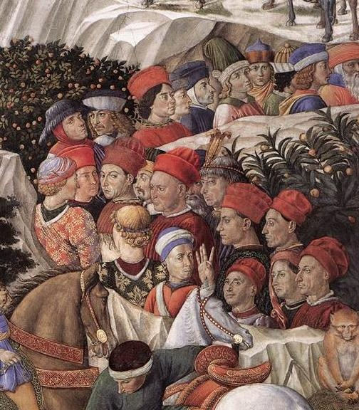 ❤ - BENOZZO GOZZOLI (1421 - 1497) - Procession of the Magus Caspar (detail). 1459-1461. West wall, Palazzo Medici-Riccardi, Florence, Italy.