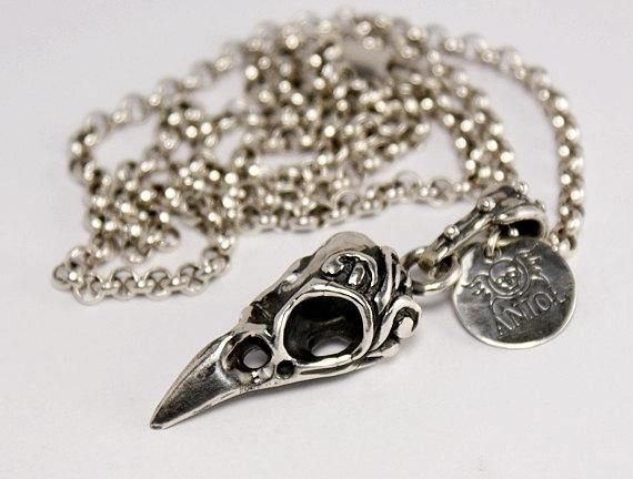 Raven Skull Necklace In Solid 100% Sterling Silver  Bird