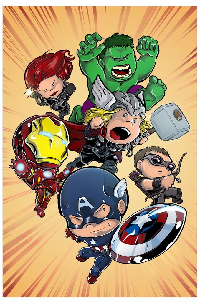 It's a picture of The Avengers. Only little. The piece was done by DeviantArtist Truxillogical, and it's called Lil' 'Vengers.