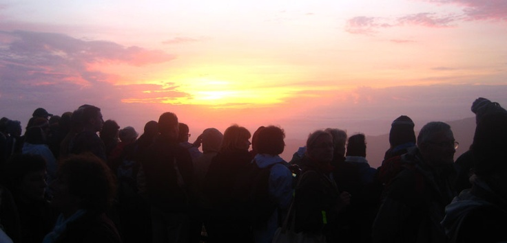 From a vantage point on Mount Penanjakan (at 2,770 meters above sea level) in East Java,  visitors from around the world gather to watch the glorious dawn as the sun slowly appears and majestically rises over Mt Bromo.
