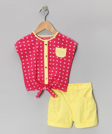 Take a look at this Pink & Yellow Heart Button-Up Top & Shorts - Toddler by Teddy Boom on #zulily today!