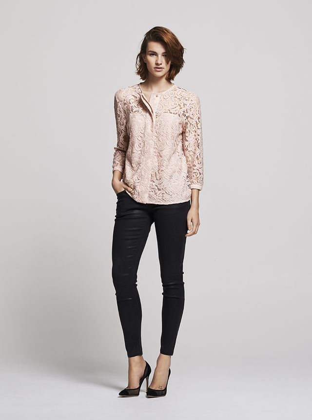 8 Insanely Stylish Ways to Wear Coated Jeans Now: Coated Jeans and Lace Blouse