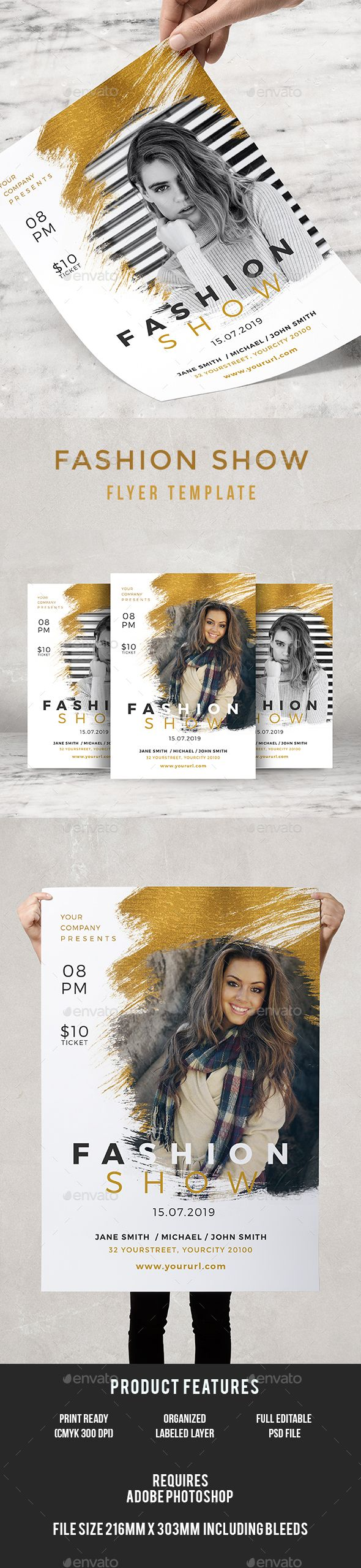 Fashion Show Flyer — Photoshop PSD #red carpet #fashion flyer • Available here → https://graphicriver.net/item/fashion-show-flyer/19545202?ref=pxcr