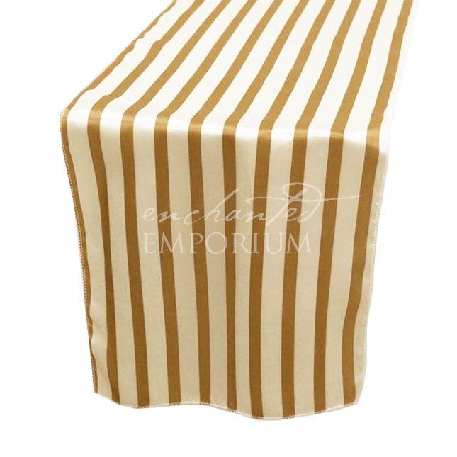 Gold & White Striped Satin Table Runner, Enchanted Emporium