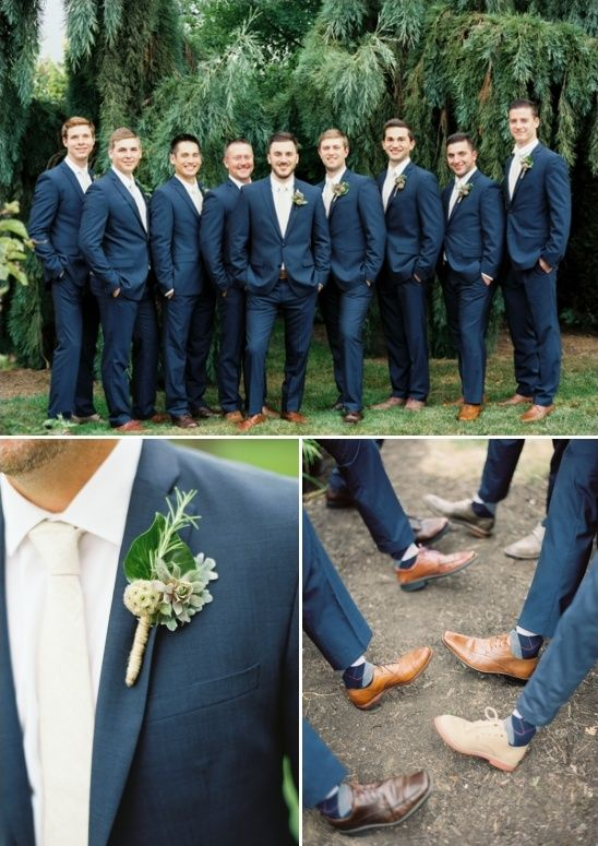 Classic Navy and Brown for the Groom and Groomsmen