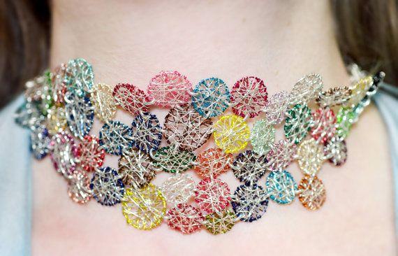 #Art necklace-bracelet. #Wearable art jewelry. Round necklace. #Sculptural jewelry. Modern necklace.Geometric necklace. Alternative wedding.  $237.29