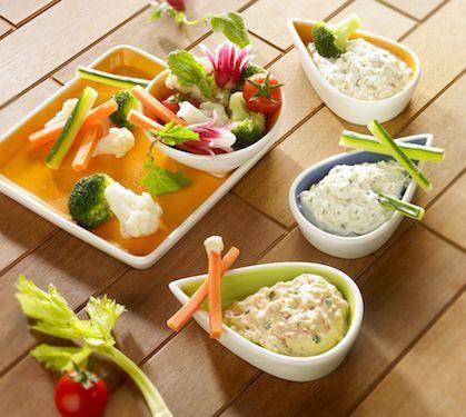 Sauce au Rondelé pour bâtonnets de légumes - Envie de bien manger  http://www.enviedebienmanger.fr/fiche-recette