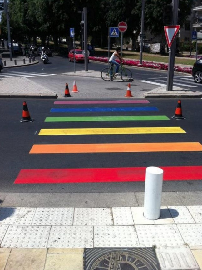 Crosswalk painted for Tel Aviv Gay Pride Parade