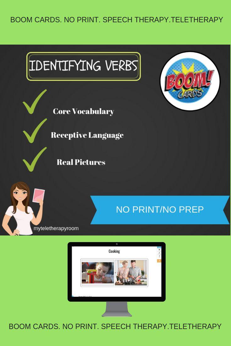 No Print Identifying Verbs (BOOM CARD) (No print/teletherapy)