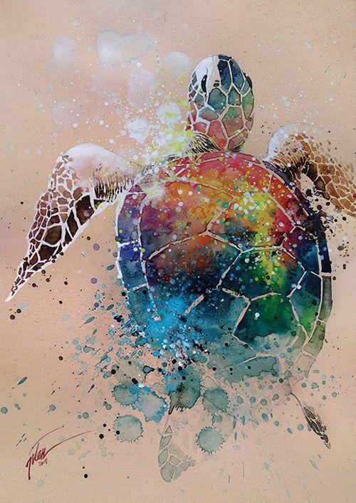 Schildkröte  Aquarell mit Gouache  Kunst drucken von tilentiart