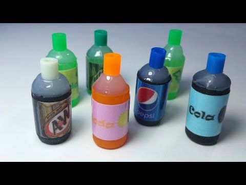 DIY Miniature Soda Bottles : Doll Food DIY - YouTube