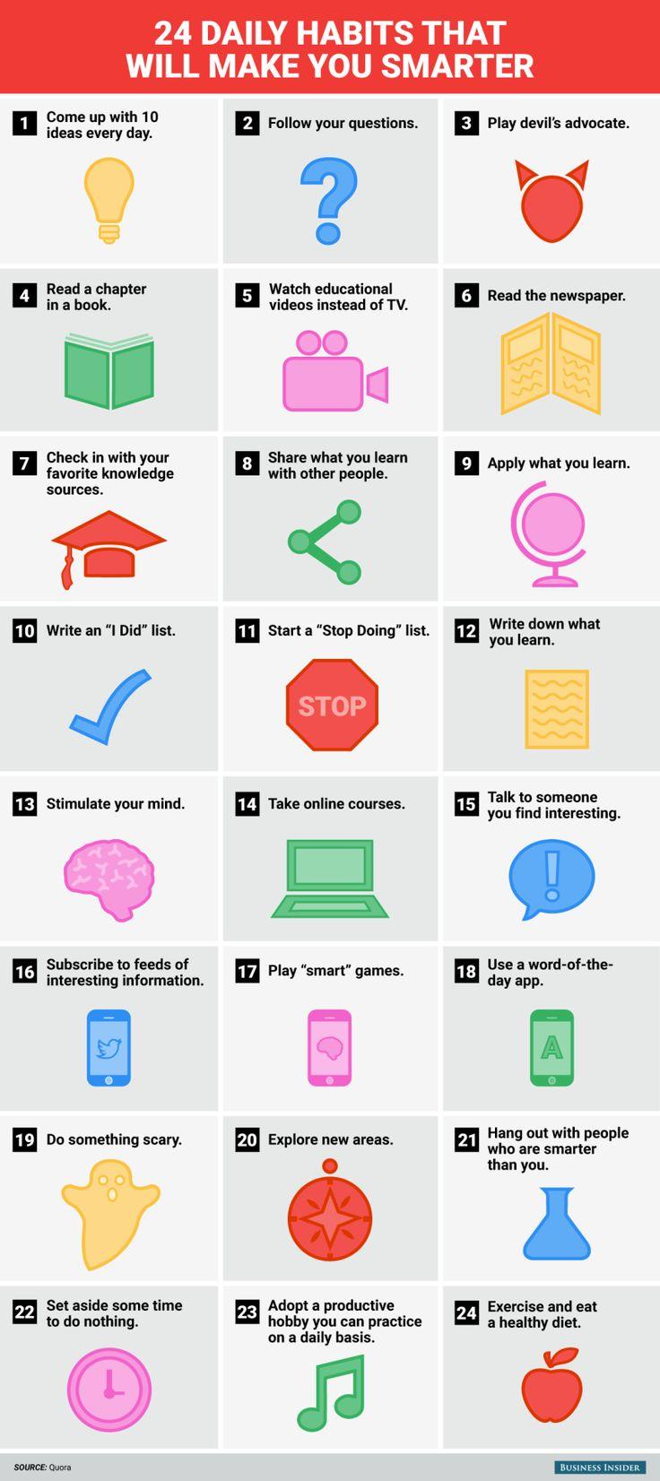 24 hábitos diarios que te harán más inteligente