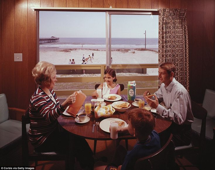 A family eats breakfast together while on vacation at the Grand Motel in Myrtle Beach in 1...