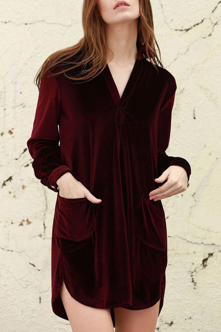 Red velvet shirt dress #style #inspiration #fashion