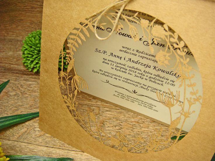 zaproszenia ślubne eko z kolekcji Lato wzór  65     Zaproszenia ślubne laserowe, kartki 3D