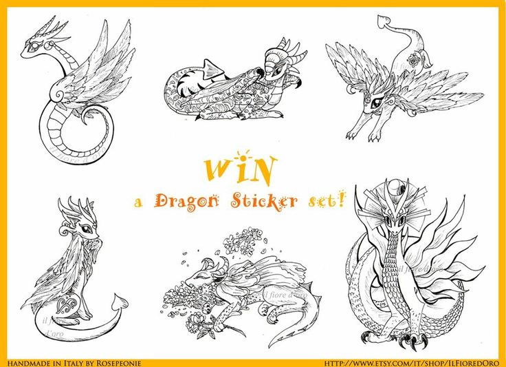 ⚛ FIRST event - WIN a DRAGON STICKER SET! ⚛ Starts 7th - ends 27th Sept. 2016  THEME: your favourite fantasy creature   PRIZE: A dragon stickers set with: 6 customizable in b&w, 3 surprise coloured ones AND 1 drawn after your favourite creature ❤️   HOW TO PARTICIPATE? Go to my FB page and find out! It's very easy  ➡️ http://www.facebook.com/Ilfioredoroetsy  See more stickers in my Etsy: http://goo.gl/DJmYf9  #dragon #dragons #stickers #free #freebie #giveaway #contest #prize